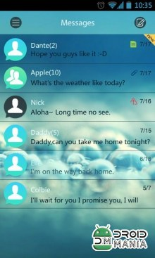 Скриншот GO SMS Pro Clean Theme EX (Unlocked) №4